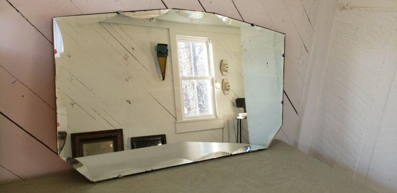 Art Deco 1930s scalloped edge Frameless Mirror