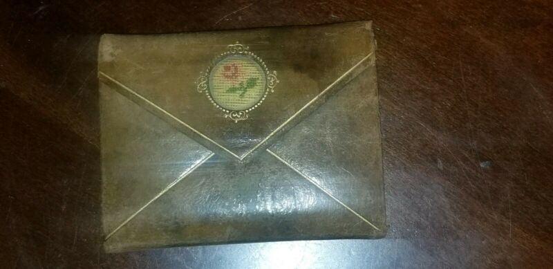 ANTIQUE 1807 LEATHER NEEDLEPOINT NEEDLECASE NEEDLE CASE BOOK envelope shape
