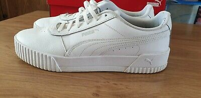 PUMA Carina Leather Trainers Ladies White Size UK 8