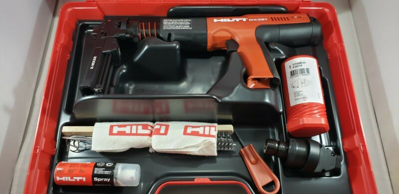 HILTI DX351 POWDER ACTUATED TOOL AND FASTENER 2 ATTACHMENT COMBO KIT BRAND NEW