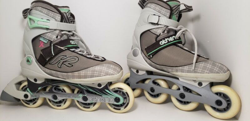 K2 Athena Womens Size 8 Skates Roller Blades Inline Gray Breast Cancer