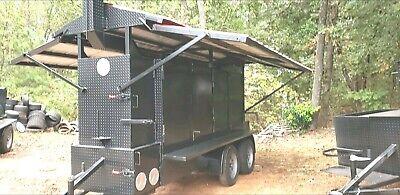 Iron Hog Bbq Barn Door Smoker Trailer W Roof Food Truck Business Catering Ribbox
