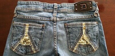 DOLLHOUSE Blue Jeans Gold Sequins Womens Size 5/6 29x31 Rock & Roll Embellished Dollhouse Womens Rock