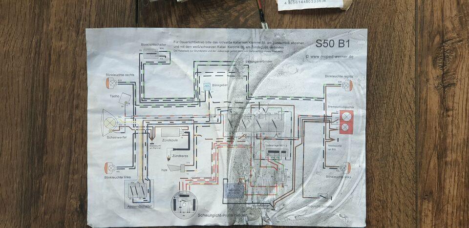 Simson Kabelbaumset S50 B1 6V-Unterbrecherzündung inkl Schaltplan in Sachsen-Anhalt - Zuchau