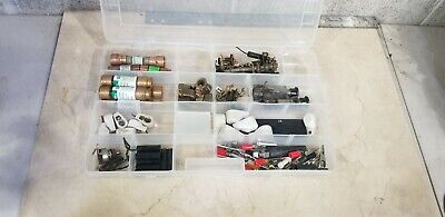 Lot Electronic Components Parts Lot Fuse Holders Capacitors Etc... With Case