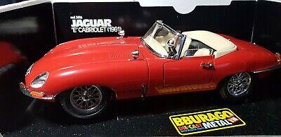 Burago 1/18 - Jaguar E Type Convertible - Red - VGC Boxed