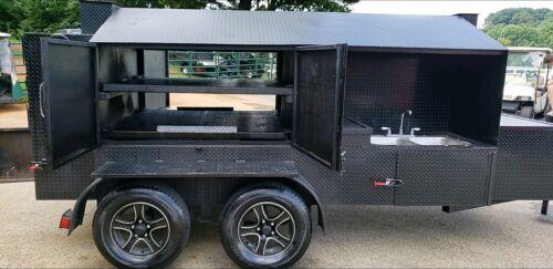 Smoke Train BBQ Smoker Grill Trailer Roof Sink Food Truck Business Catering