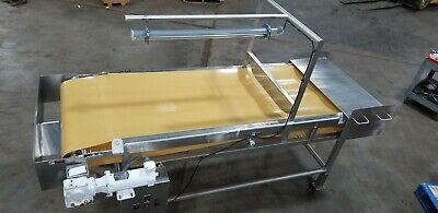 Stainless Inspection Sorting Ss Conveyor 8.5 L 34 W With Sanitary Belt 0.5 Hp