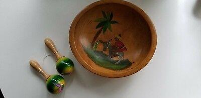 Vintage Wooden Bowl Hand Painted Man On Donkey and Two Maracas Aruba 1947 EUC (Wooden Maracas Bulk)