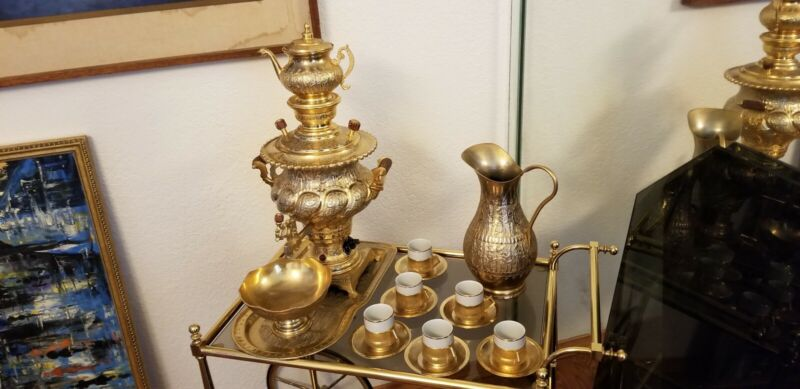 Electric Vintage Persian Gold Plated Samovar Coffee & Tea Set (serving size 6)