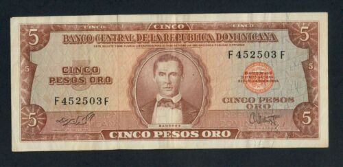 DOMINICAN REPUBLIC  5 PESOS  ( 1964-74 )  PICK # 100a  VF.
