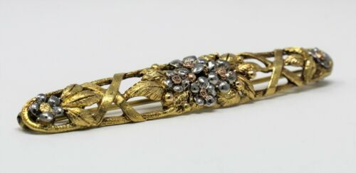 """14 kt Tricolor Gold Floral Motif in """"Art Nouveau Style"""" Bar Pin Brooch B2187"""