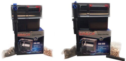 GRECH HANG ON BACK AQUARIUM FILTER W/ 5W UV STERILIZER FOR 10-50 GAL FISH TANK
