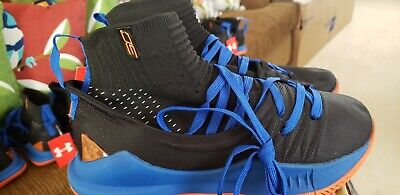 Under Armour Curry 5 Navy Blue Black Orange Mens Basketball Shoes