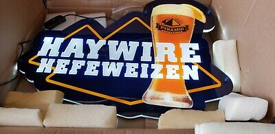 HAYWIRE HEFEWEIZEN PYRAMID BREWERIES LIGHT LED BEER SIGN Bar Man Cave Game Room
