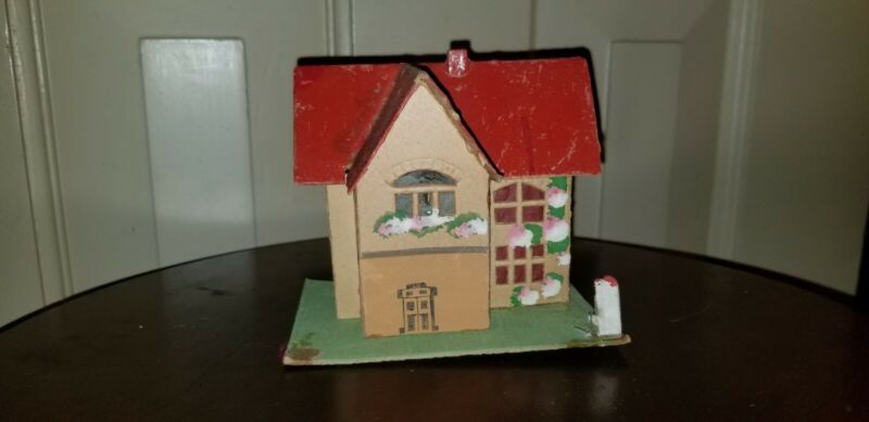 ANTIQUE GERMAN GERMANY RED ROOF CARDBOARD CHRISTMAS VILLAGE PUTZ HOUSE PAINTED