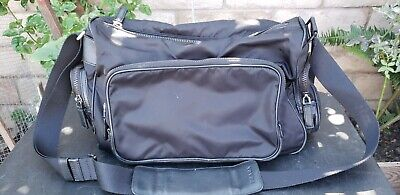 Vintage PRADA Hand Bag Purse Black Nylon Leather Shoulder/Messenger CROSS Body