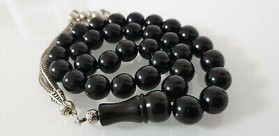 Hm- 11MM Oltu Gagat Jet Prayer Chain Tesbih Prayer Beads Chain Islam Quran