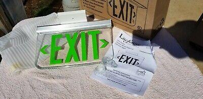 Hubbell Lescsgdna Edge-lit Exit Sign Green 120-277vac Ceiling Mount Dual Lite