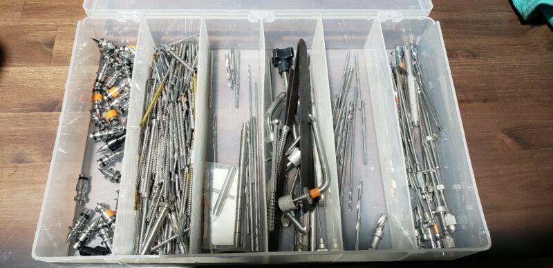 Huge Lot Orthopedic Neurosurgery Fixation Pins, Gardner Pins, Bits, 250+