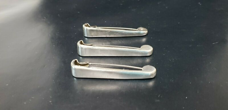 Lot of 3 Vintage NAPIER Sterling Silver Safety Diaper Pin Clip