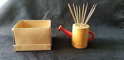 Vtg NOS Wood Spring Water Can Toothpick Holder with Colored Toothpicks orig. Box