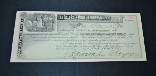 The Gold Rock Mining & Milling Company 1891 antique stock certificate