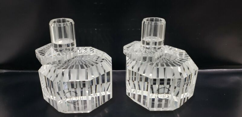 A Pair of GAIA GINO Optical Glass Candleholders by Jaime Hayon
