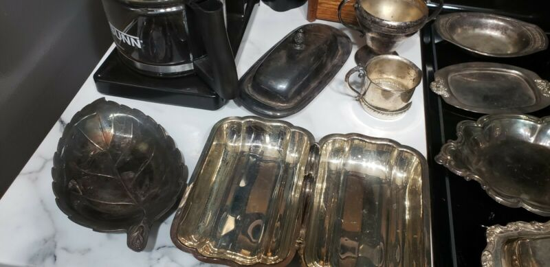 Large Lot Of Silver Plate Serving Pieces