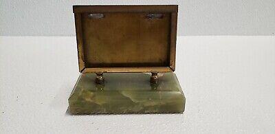 Vintage Marble Business Card Holder Marble Base Brass Holder