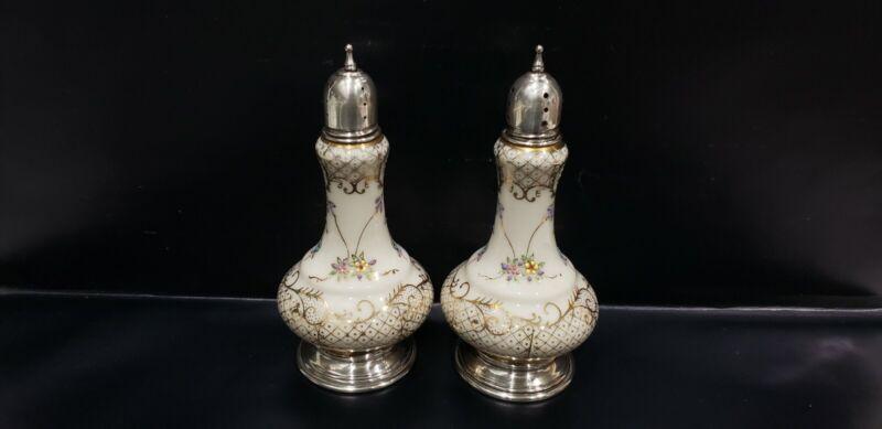 Antique Sterling Silver & Ornate Porcelain Salt & Pepper Shakers