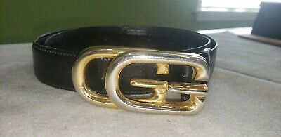 """Authentic Vintage Gucci Thin Black Leather Belt 1"""" x 32"""" Gold GG Logo Buckle"""