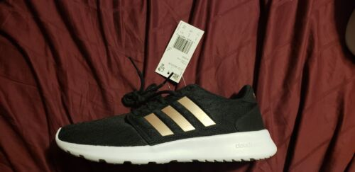 Womens Adidas Neo Cloudfoam Sneakers Size 7.5 Black And Rose Gold NEW