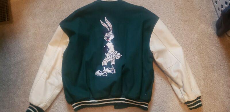 Mens Warner Bros Looney Tunes Embroidered Bugs Bunny  Varsity Jacket SZ L, Large