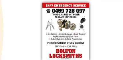 24/7 EMERGENCY   MOBILE LOCKSMITH . BOLTON LOCKSMITHS