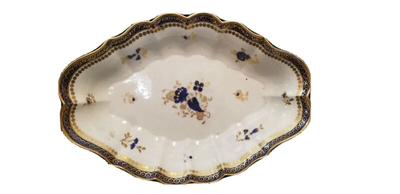 RARE 18TH C ENGLISH CAUGHLEY SALOPIAN PORCELAIN LG OVAL BOWL BLUE GOLD 12.5""