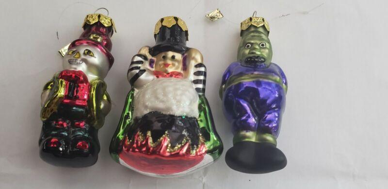 "Group 3 Halloween 3"" Blown Glass Ornaments Witch Frankenstein Skeleton"
