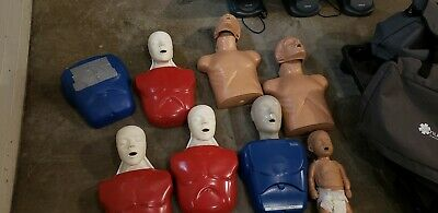 Basic Buddy Cpr Manikins Lot Of 6 And Baby And 3 Bags