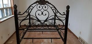 Rod iron queen bed frame
