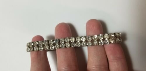 Vtg Bangle Tennis Bracelet Stretch Ab Crystal Glass Silver Tone Retro Jewelry  - $9.98