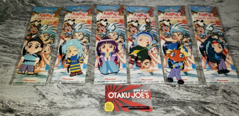 """TENCHI MUYO 3D CUT OUT VINYL KEYCHAINS SET OF 6 2000 3 1/2""""  Pioneer sealed card"""