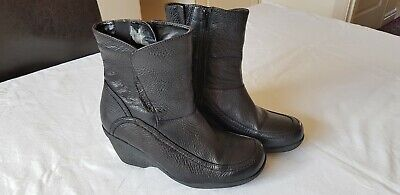 Ladies Ankle Boots Hush Puppies Hooper Black Leather Size 4 Excellent Condition