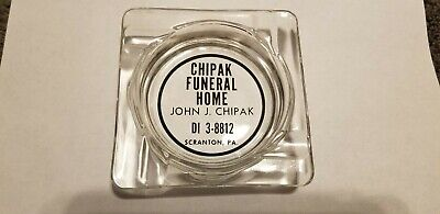 Vintage Funeral Home Ashtray John J Chipak Glass Ash tray art deco SCRANTON (Scranton Glass)