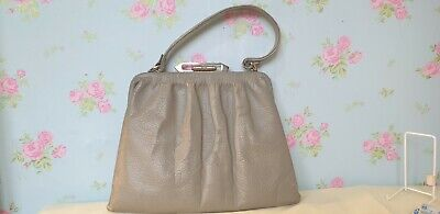 1940's Vintage Handbag, grey, bullet clasp, ww2, metal zip inside pocket,