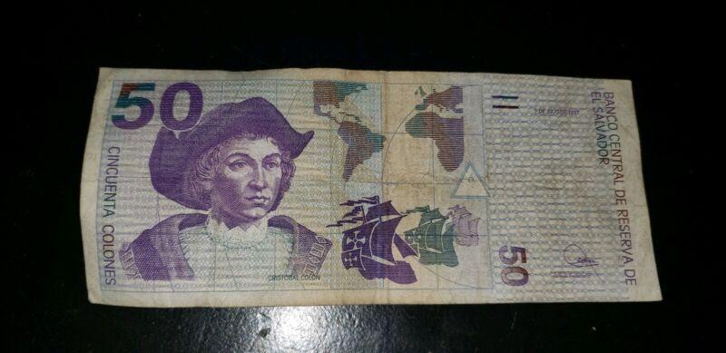 El Salvador 50 colones 1997 billete currency money coin collectible