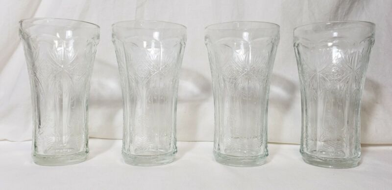 Vintage Clear Indiana Glass Madrid Recollection 14oz Tumblers Lot of 4