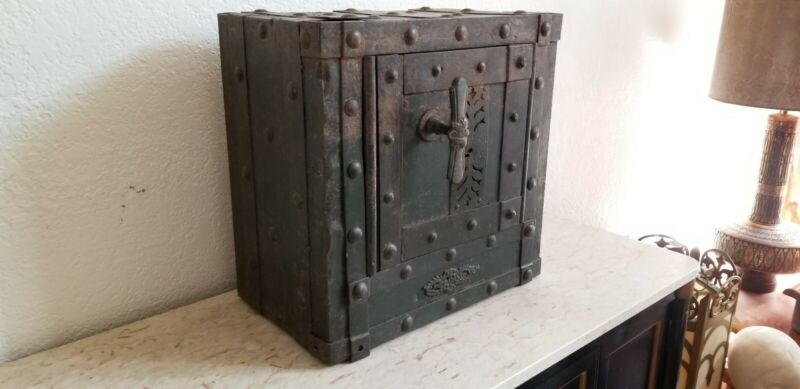North Italian 18th c. Wrought Iron Antique Hobnail Safe Studded Strongbox Chest
