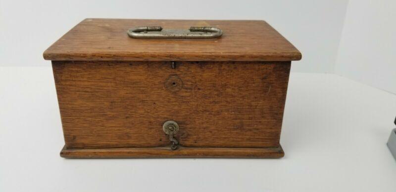 1800s Home Medical Apparatus Box Solid Wood Oak Antique