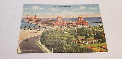 Chicago, IL Navy Pier Boats Landscape 107 Curteich c1940s Linen Postcard Unused