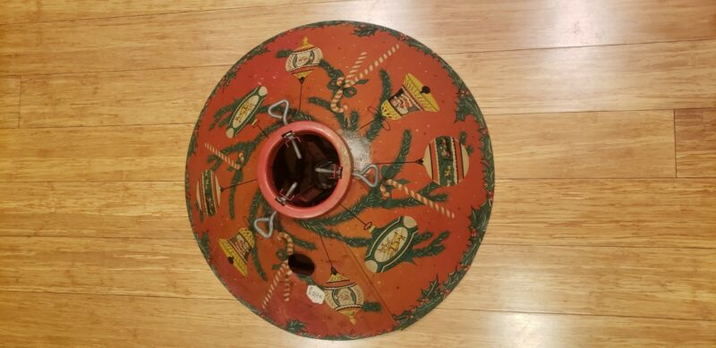 """Vintage Red Tin Litho Poloron  20"""" Tree Stand"""